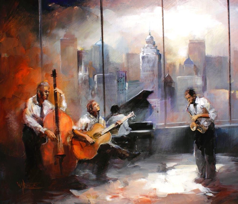 Bemalte leinwand mit jazzband - Bemalte leinwande ...