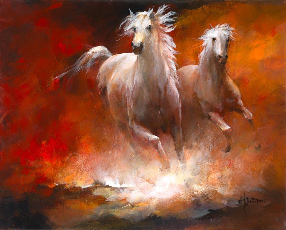 Bemalte leinwand mit pferden die davon galoppieren - Bemalte leinwande ...